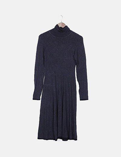 Vestido maxi tricot rayas