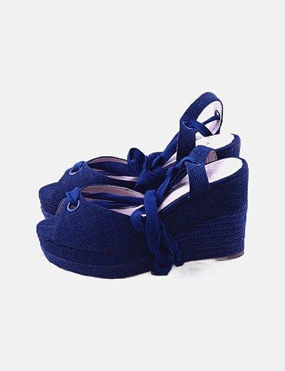 Sandalias cuñas azul petróleo
