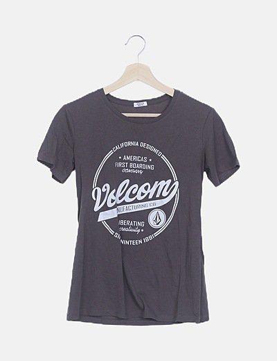 Camiseta gris print blanco