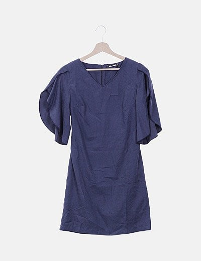 Vestido azul marino manga vuelo