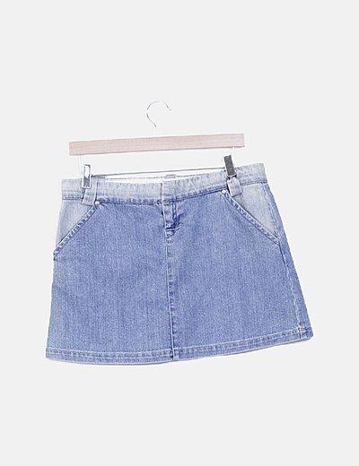 Mini falda denim combinada