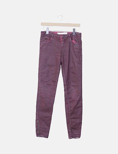 Jeans denim granate encerado