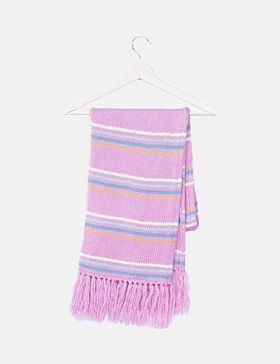 Bufanda multicolor lana flecos