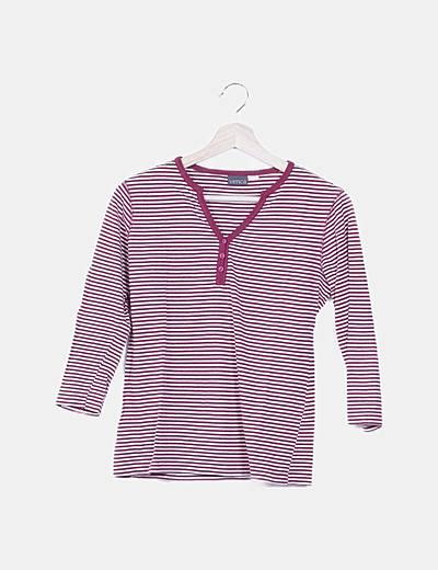 Camiseta rayas bicolor con botones