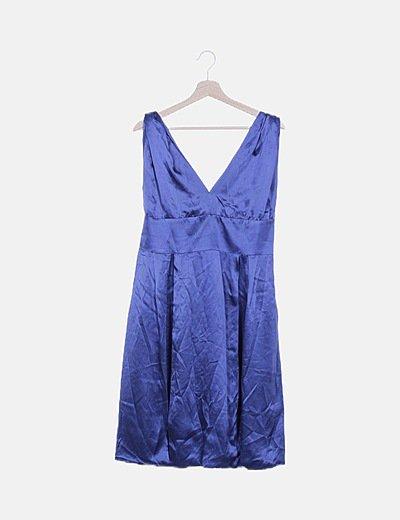 Vestido azul oscuro satinado