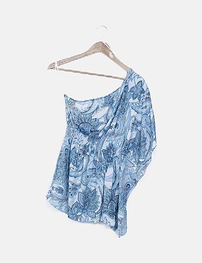 Camiseta asimétrica azul turquesa estampada