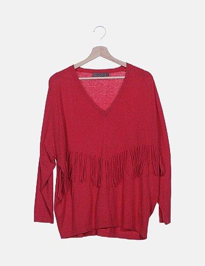Jersey tricot rojo con flecos