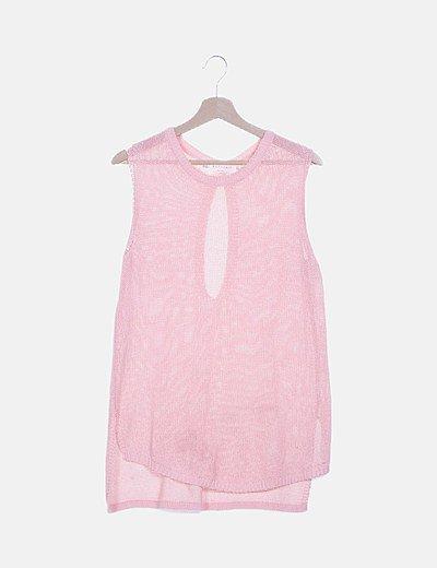 Jersey rosa sin mangas tail hem
