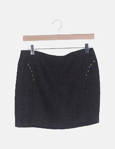 Mini falda lana negra glitter con tachas