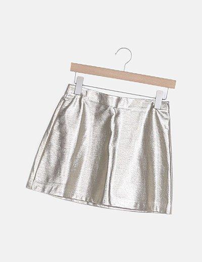 Mini falda polipiel dorada