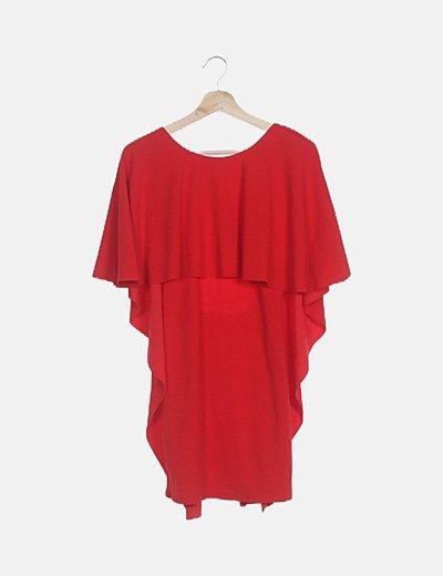 Vestido capa rojo abertura espalda