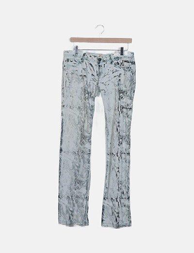 Pantalón recto denim blanco estampado
