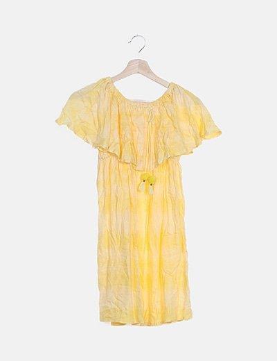 Vestido amarillo bardot combinado