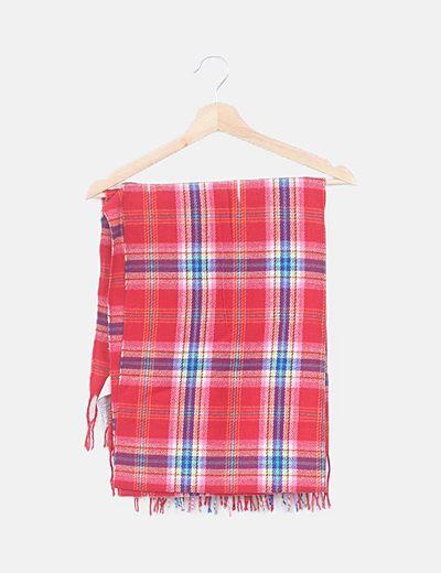 Bufanda tricot cuadros rojo