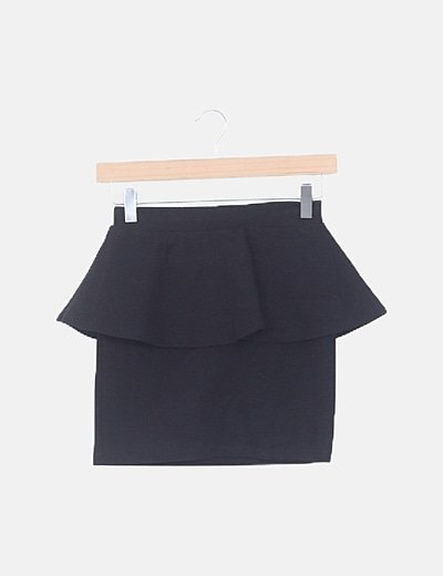 Mini falda peplum negra