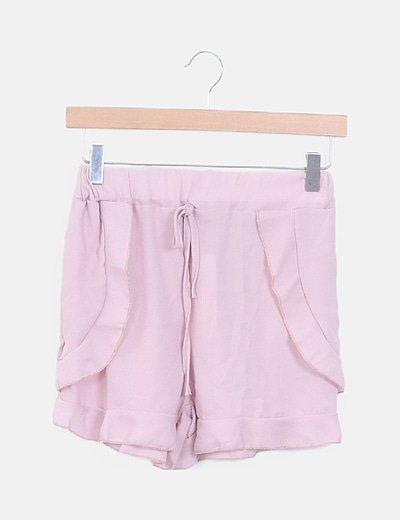Shorts fluido rosa palo