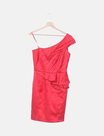 Vestido satén rojo peplum asimétrico