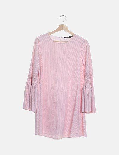 Vestido rayas rosas manga campana