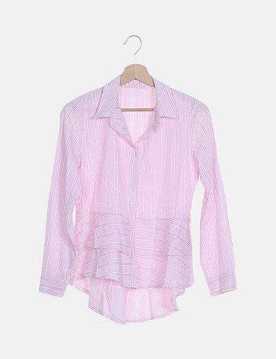 Camisa asimétrica rosa de rayas