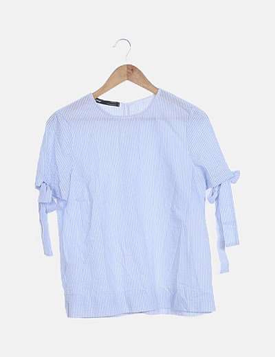 Blusa azul de cuadros lace up