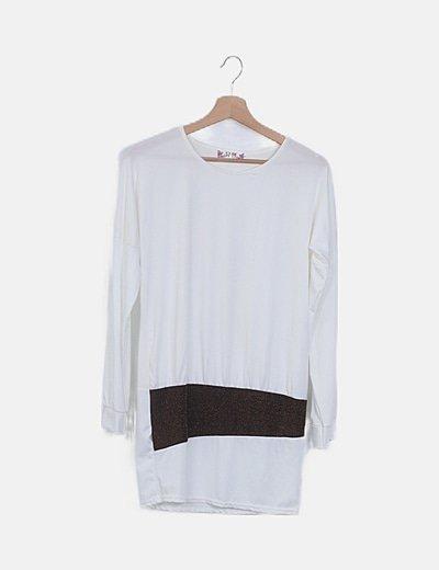 Vestido midi blanco franja textuzirada