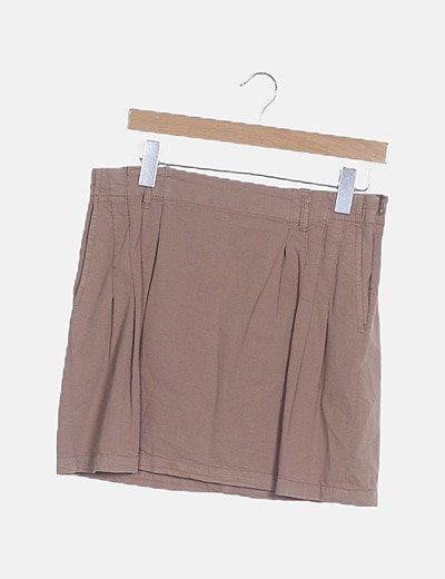 Mini falda nude plisada