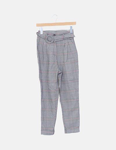 Pantalón cuadro galés con cinturón