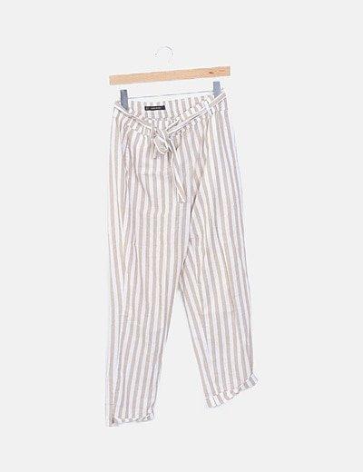 Pantalón de rayas beige y blanco