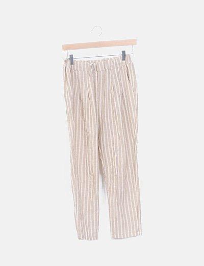 Pantalón beige de rayas
