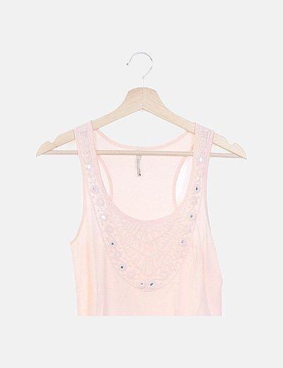 Camiseta rosa combinada