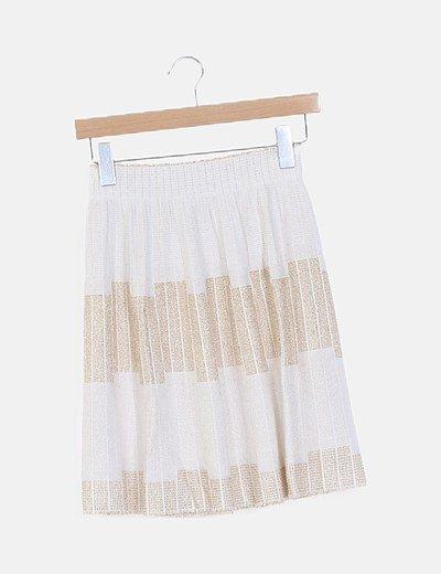 Falda tricot blanca hilos glitter dorados