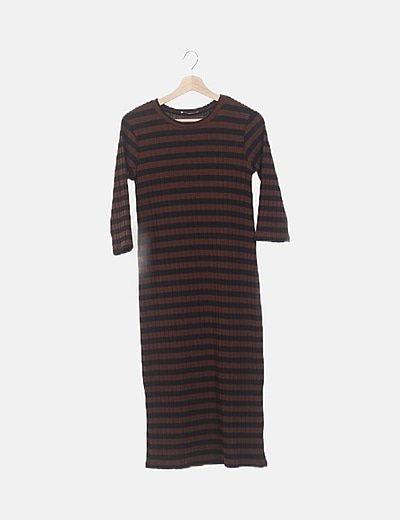 Vestido maxi negro tricot rayas marrones