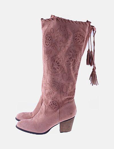 Botas altas rosas camperas tacón