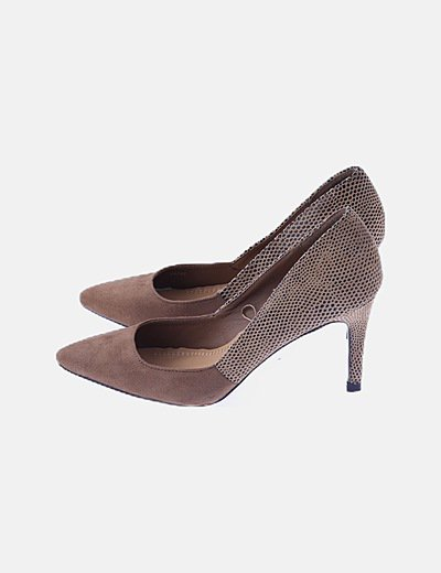 Zapato tacón combinado marrón