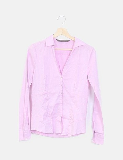 Camisa rosa detalles texturizados