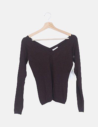 Jersey marrón punto manga larga