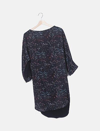 Vestido negro print estrellas