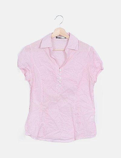 Camisa manga corta rayas roja