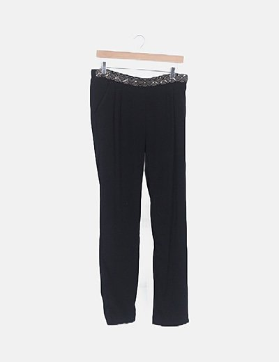 Pantalón baggy cintura con abalorios