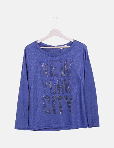 Camiseta manga larga azul marino con strass