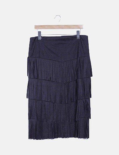 Falda negra antelina con flecos
