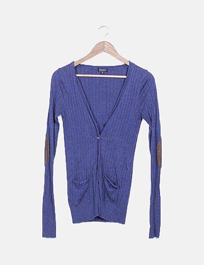 Chaqueta azul tricot coderas