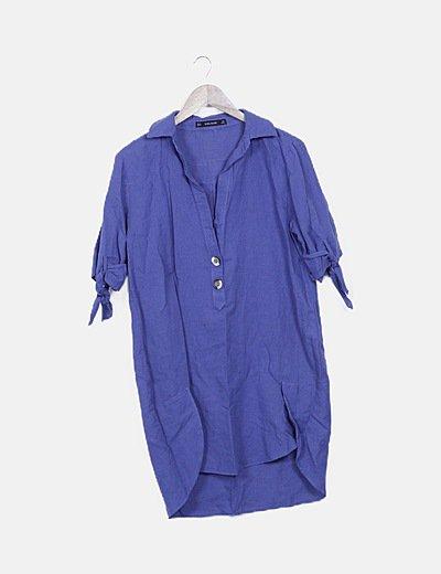 Vestido camisero azul lino manga lazo