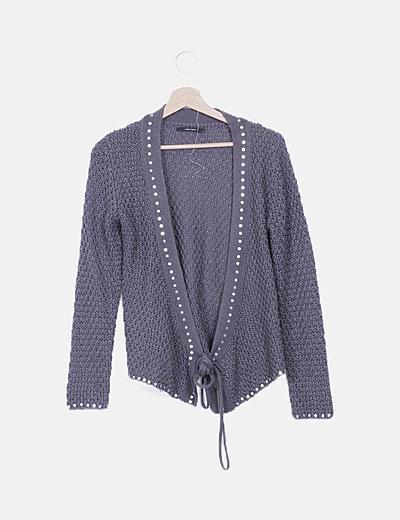 Chaqueta lana gris lentejuelas