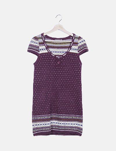 Vestido lana granate print