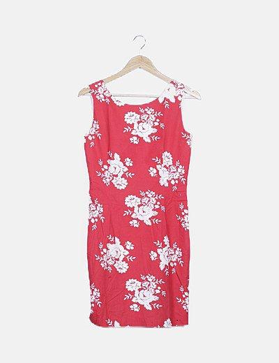 Vestido rojo print floral