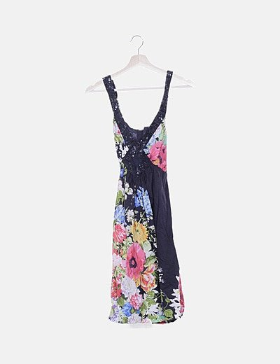 Vestido negro estampado floral detalle glitter