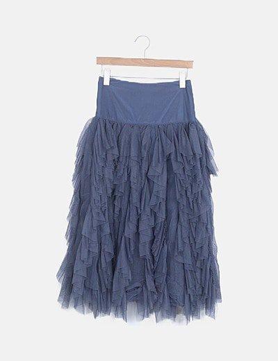 Falda godets azul