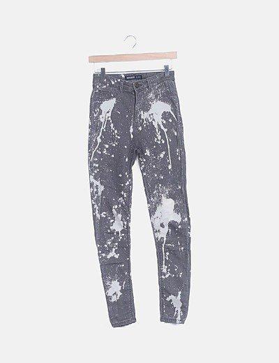 Jeans grises efecto pintura high waist