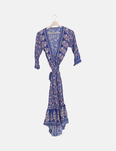 Vestido cruzado azul estampado